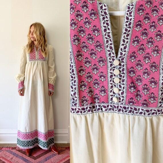 Vintage 70s Block Maxi Dress , White Prairie Style Dress , Vintage White Dress