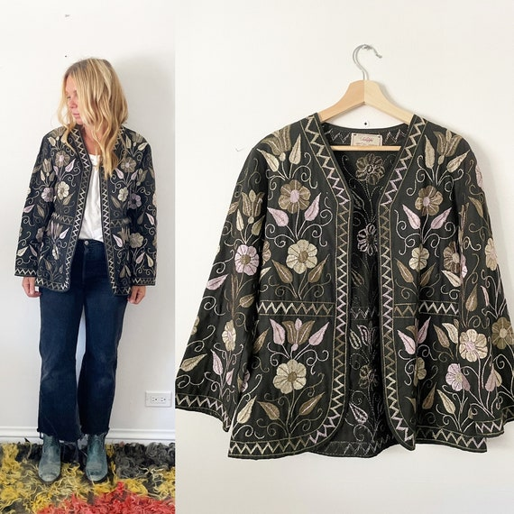 Vintage Rare 70s Hand Embroidered Afghan Cotton Jacket , Afghan Floral Embroidered Waistcoat