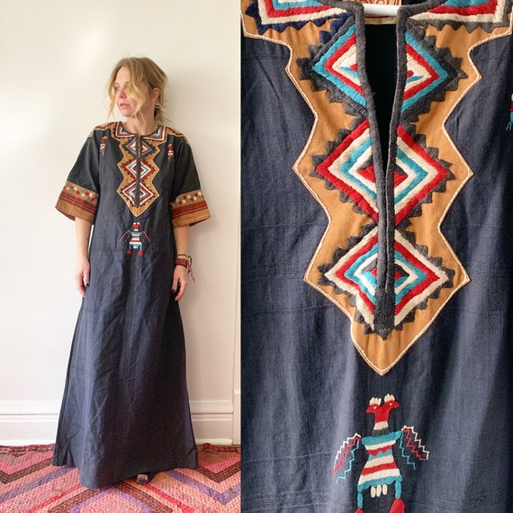 Vintage 70s Gonzalo Bauer Mexican Embroidered Kaftan, Designer Mexican Caftan