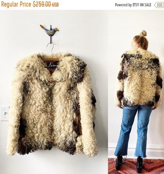 SALE 20% OFF Vintage Curly Lamb Coat , Shaggy Fur Coat , Lamb Fur Coat