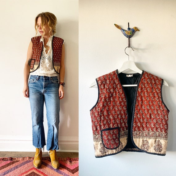 Vintage Indian Cotton Vest , India Block Print Vest