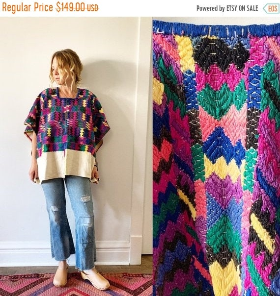 SALE 20% OFF Vintage Huipil Top, Ethnic Embroidered Poncho , Guatemalan Huipil
