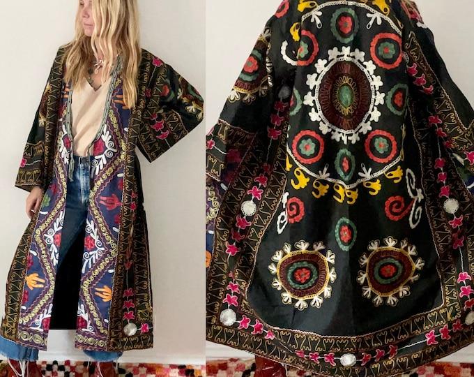 Vintage Embroidered Coat, Uzbek Tribal Coat , Embroidered Maxi Coat , Embroidered Duster