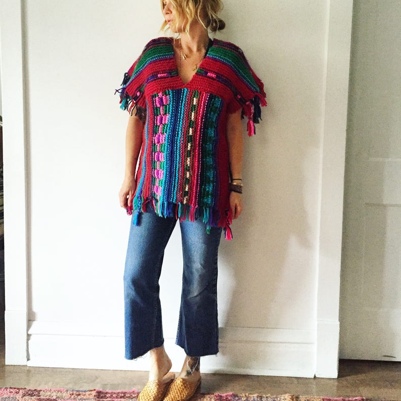 Fringed Sweater Vintage 70s Chunky Knit Colorful Sweater Tunic