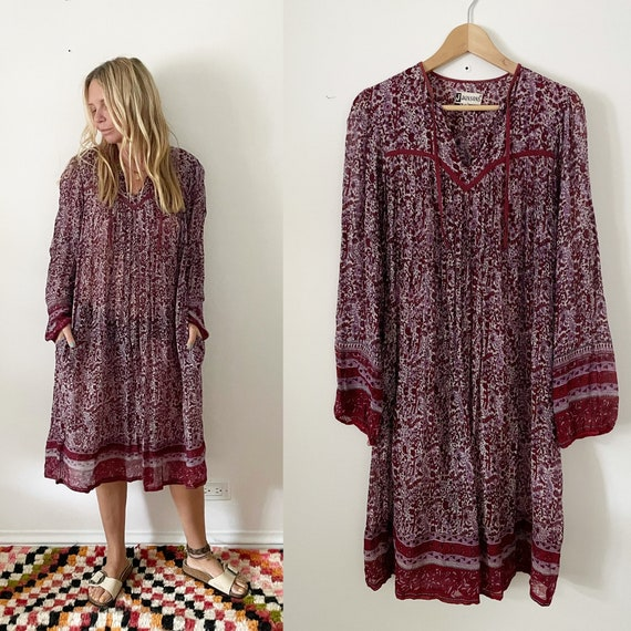 Vintage 70s Indian Cotton Dress , India Block Print Dress , Gauze Dress