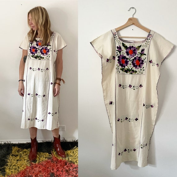 Vintage Hand Embroidered Mexican Huipil Dress, Floral Embroidered Dress, White Mexican Kaftan