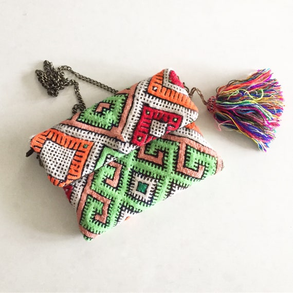 Vintage Moroccan Kilim Clutch, Kilim Cross Body Bag , Moroccan Carpet Bag