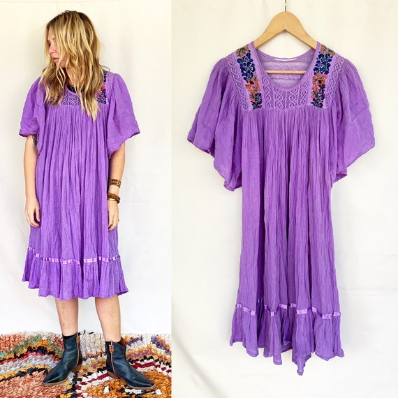 Vintage Mexican Gauze Dress, Ethnic Lace Dress , B