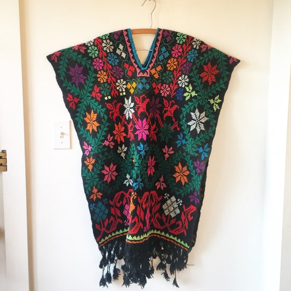 Vintage 60s Mexican Hand Embroidered Poncho, Oaxaca Embroidered Cape , Mexican Wool Poncho