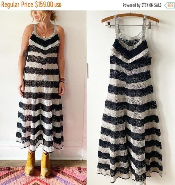 SALE 20% OFF Vintage Crochet Midi Dress , Crochet Striped Dress , Sun Dress