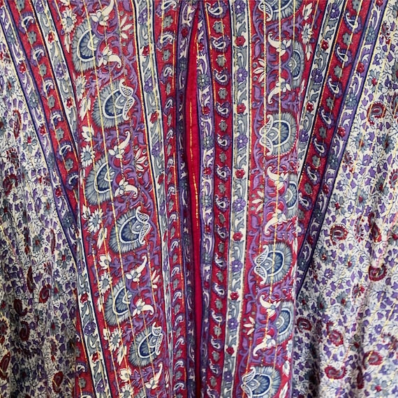 Vintage 70s Indian Cotton Gauze Lurex Kaftan  ,  … - image 6