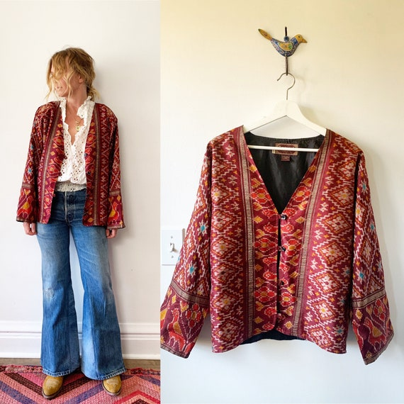 Vintage SILK Ikat Jacket, Sacred Threads Slouchy Jacket