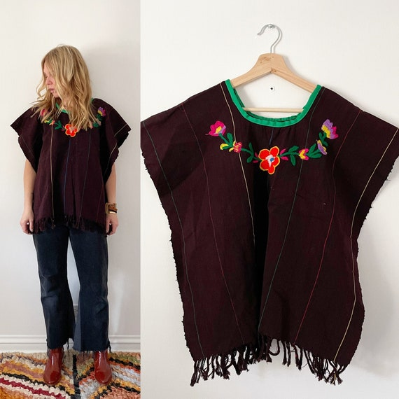 Vintage Mexican Hand Embroidered Huipil Top , Embr