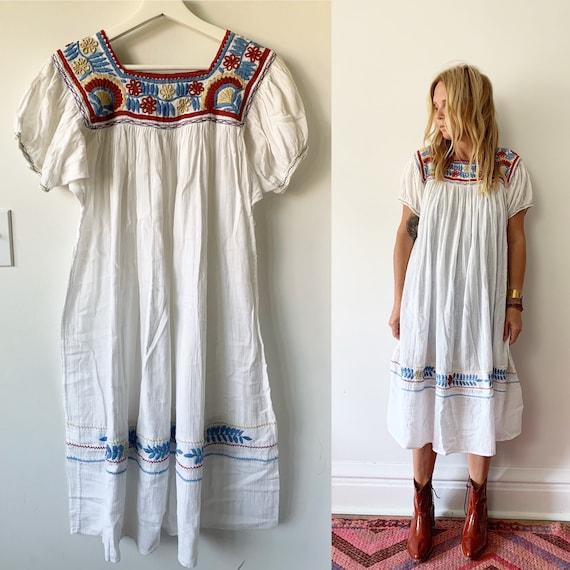Vintage Mexican Gauze Dress, Ethnic Midi White Dress