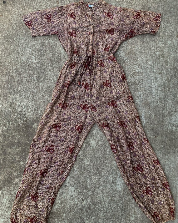 Vintage RARE Indian Cotton Gauze Lurex Jumpsuit ,… - image 8
