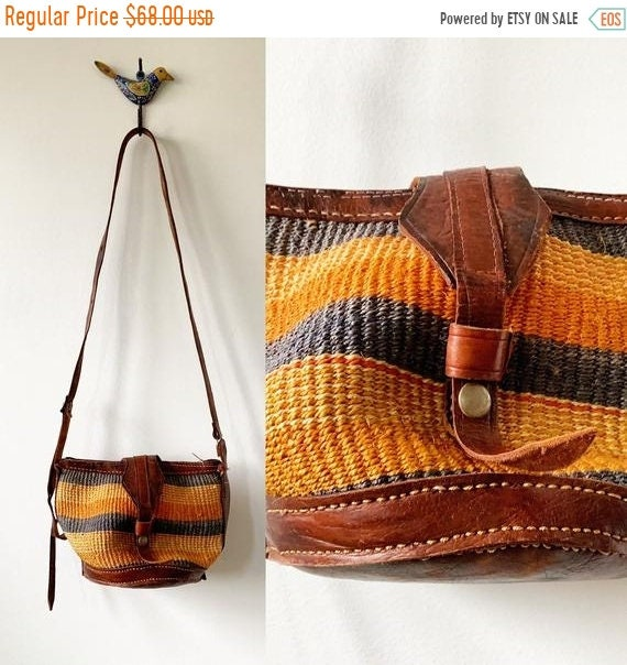 SALE 20% OFF Vintage Sisal Tooled Leather Bag , Ethnic Straw