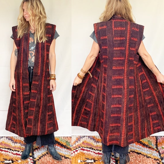 Vintage 80s Anokhi Quilted Maxi Vest , Anokhi Quil