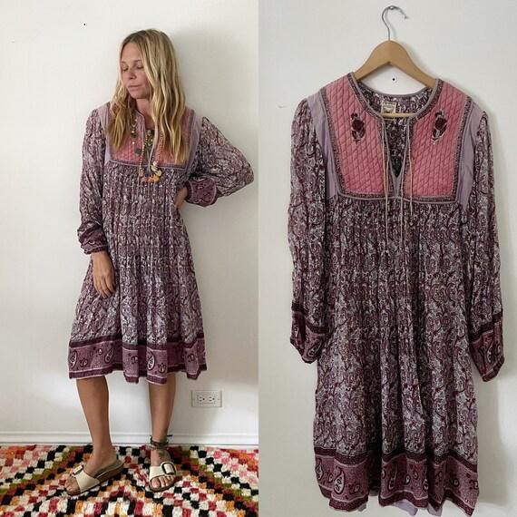Vintage India Cotton Gauze  Dress , Indian Cotton Kaftan , Papillon Gauze Maxi Dress