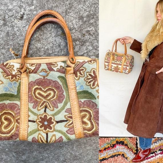 Vintage Elephant Walk Embroidered Handbag , Floral Embroidered Purse
