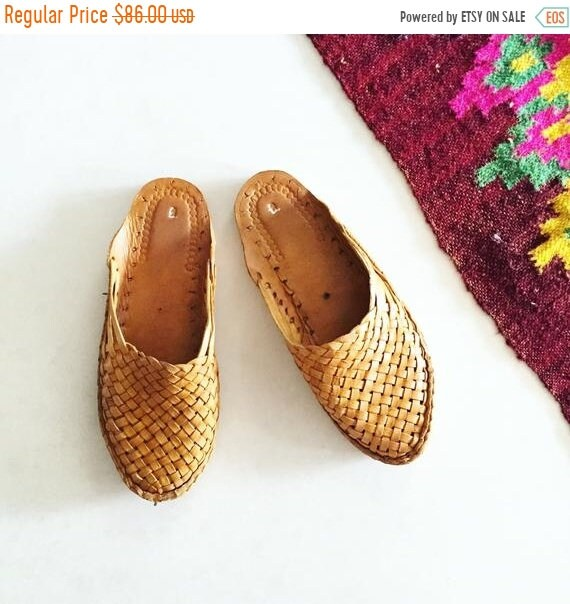 SALE 20% OFF Woven Indian Leather Slides , India Leather Mules , Handmade Leather Shoes