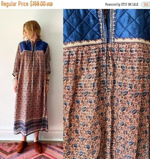 40% OFF SALE Vintage 70s India Cotton Gauze Dress , Block Print Maxi Dress , Indian Lurex Kaftan , Indian Metallic Kaftan