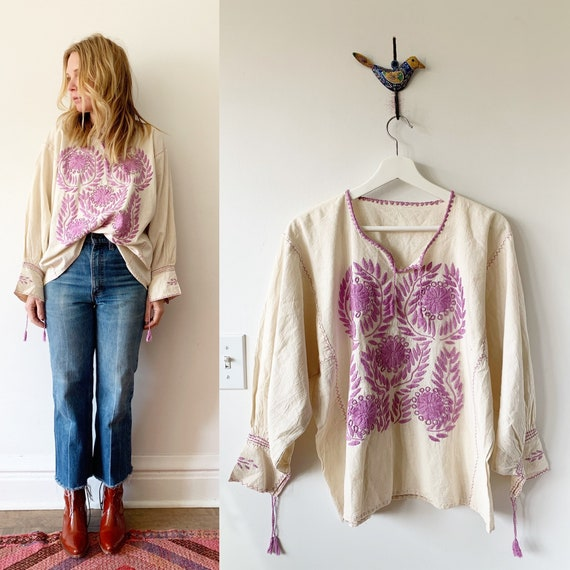 Hand Embroidered Mexican Blouse. BOHO Blouse