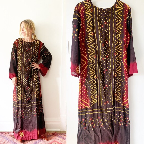 Vintage 70s Indian Cotton Batik Kaftan , India Bat