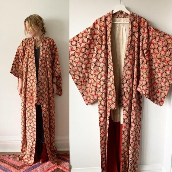 Vintage Japanese Kimono , Maxi Kimono, Pinted Kimono , Butterfly Print Kimono , Silk Butterfly Kimono