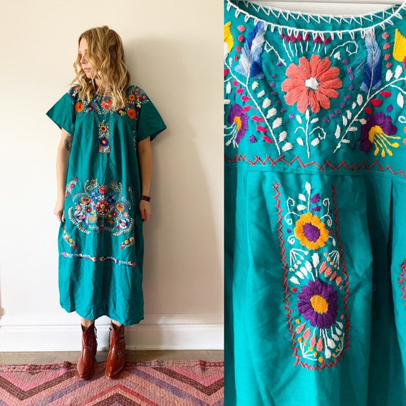 Vintage Mexican Hand Embroidered Tunic Dress