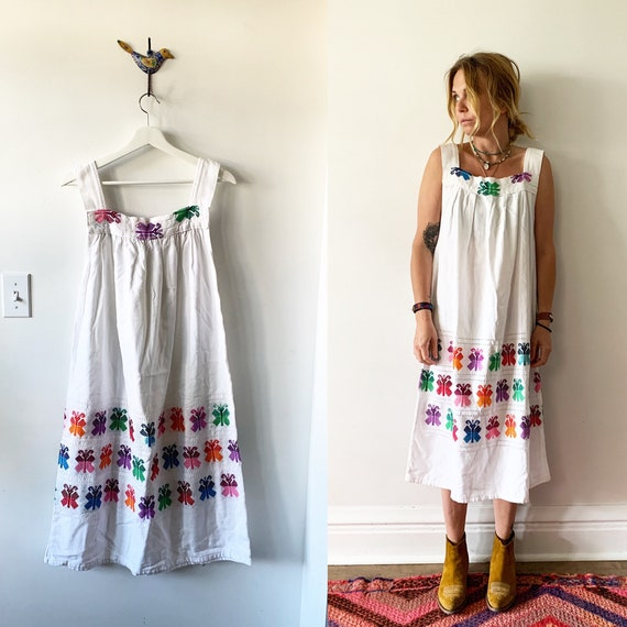 Vintage Hand Loomed Guatemalan Dress , Hand Loomed Butterfly Dress , Cotton Maxi Dress , Ethnic Kaftan