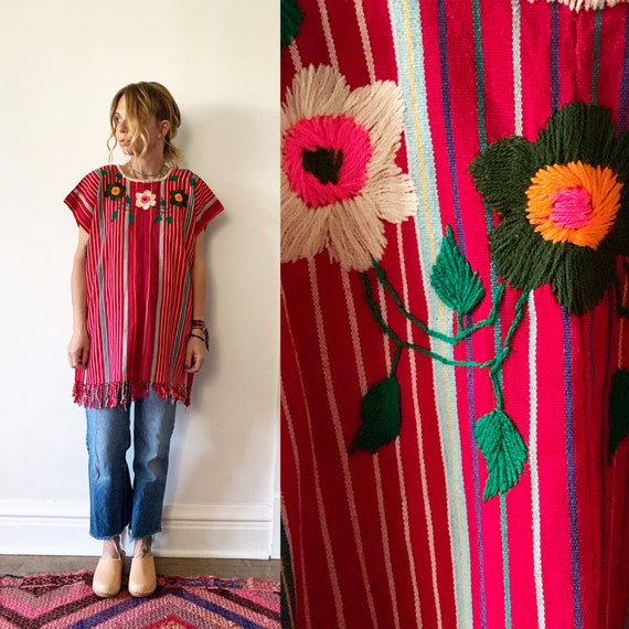 Vintage Huipil Top, Huipil Tunic , Embroidered Mexican Dress , Embroidered Kaftan