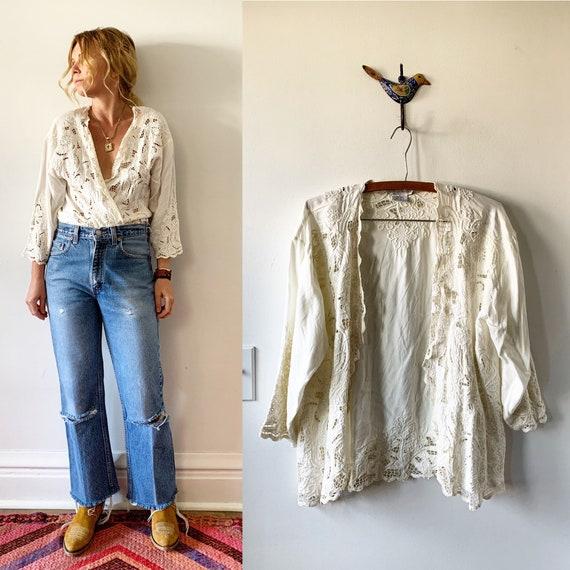 RESERVED//Vintage Bali Lace Jacket, Cutout Layering Jacket , Lace BOHO Jacket
