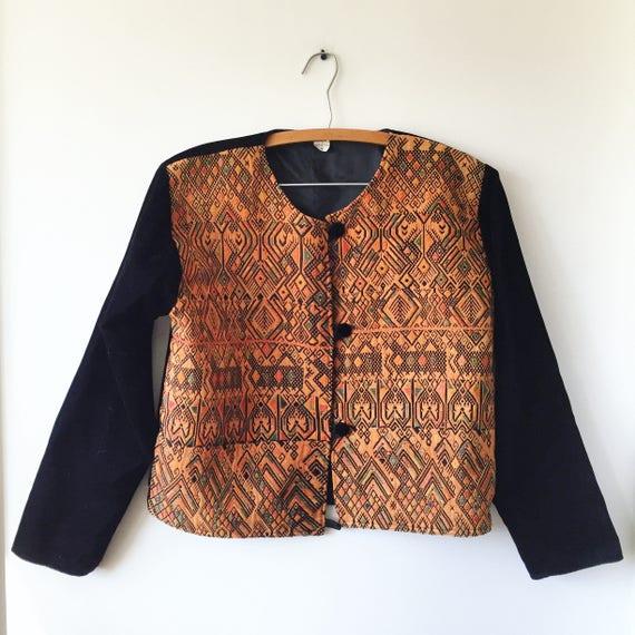 Vintage Velvet Embroidered Jacket , Ethnic Cropped Jacket , Guatemalan Bolero Jacket