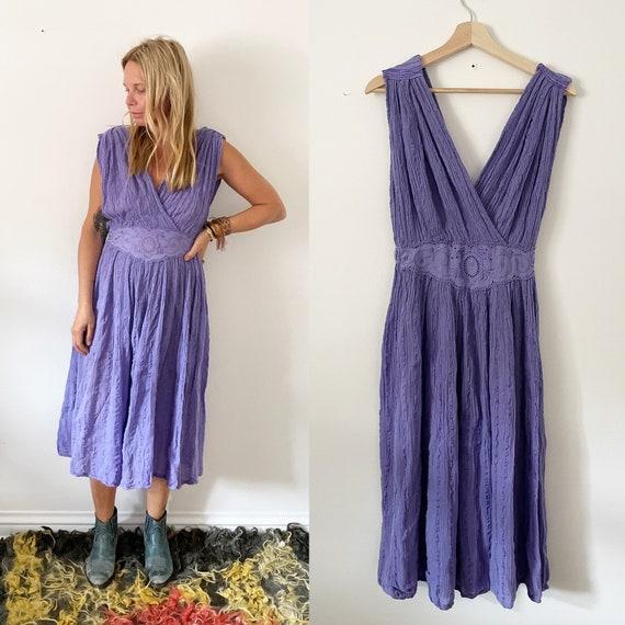 Vintage Grecian Gauze Midi Dress , BOHO Sun Dress