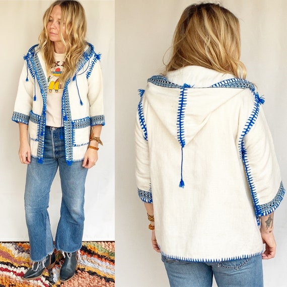Vintage Ethnic Embroidered Wool Jacket , BOHO Ethn