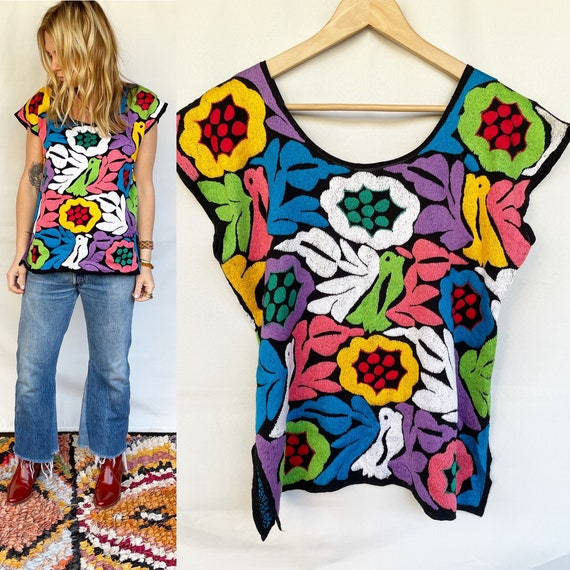 Hand Embroidered Mexican Blouse , Oaxacan Blouse ,