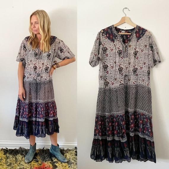 Vintage 70s Indian Cotton Gauze Dress ,  India Gauze Dress , Block Print India Dress , BOHO Dress