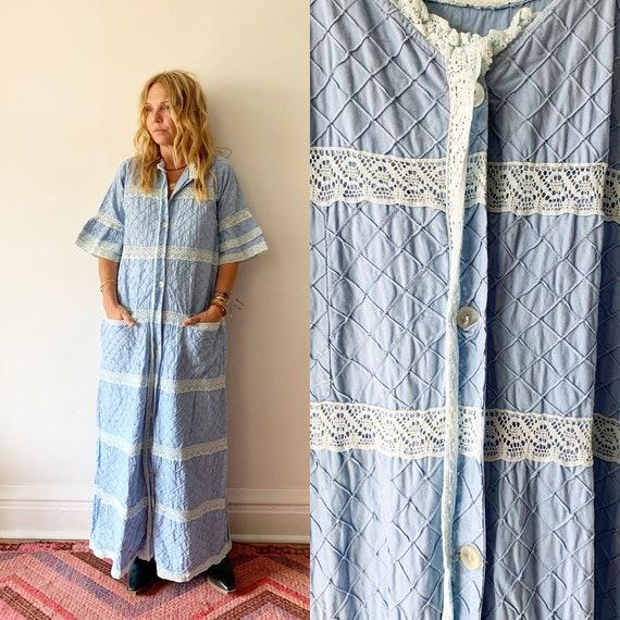 vintage Lace Trim Mexican Cotton Dress ,  Natural Cotton Maxi Kaftan , Mexican Duster