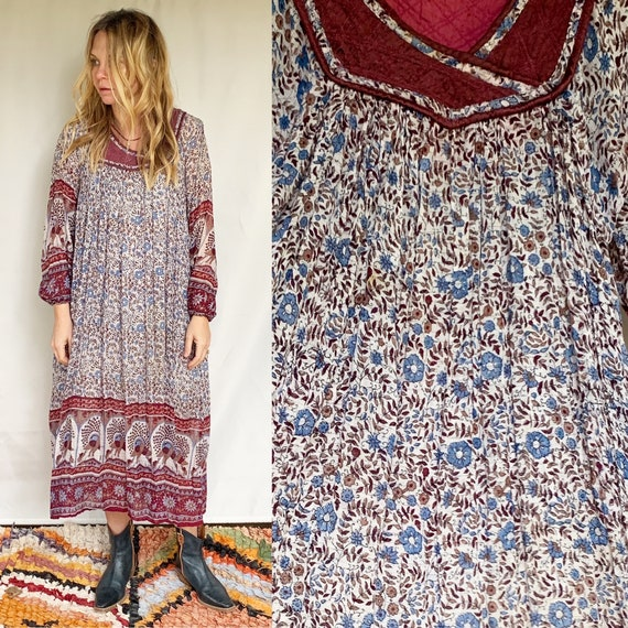 Vintage India Cotton Gauze Lurex Dress , Indian Cotton Dress , Lurex Gauze Midi Dress , Indian Floral Peacock Dress