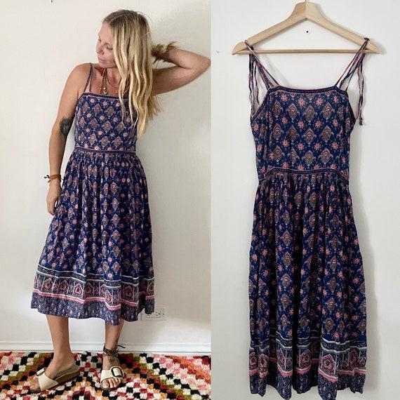 Vintage Adini Indian Cotton Dress , Block Print Dummer Dress