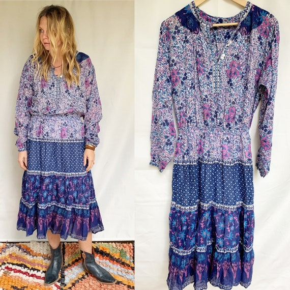 Vintage 70s Indian Cotton Gauze Dress ,  India Gauze Dress , Block Print India Dress , BOHO Dress