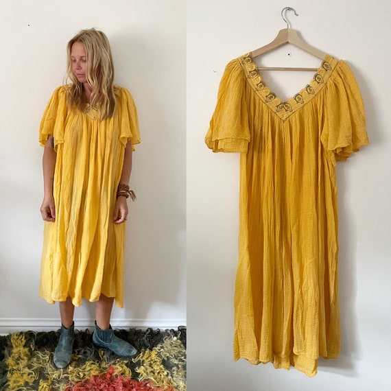 Vintage Cotton Gauze Grecian Sun Dress ,   Bali Lace Butterfly Sleeve Dress , Butterly Lace Top