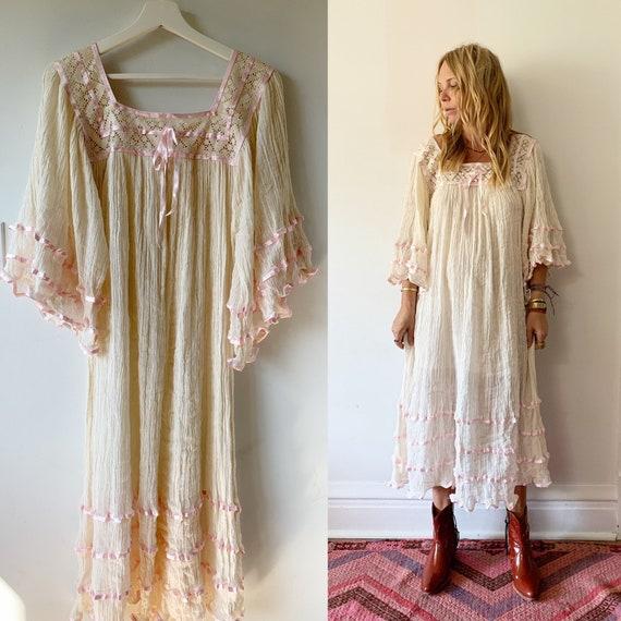 Vintage Mexican Gauze Dress, Ethnic Lace Dress , Crochet Cotton Dress