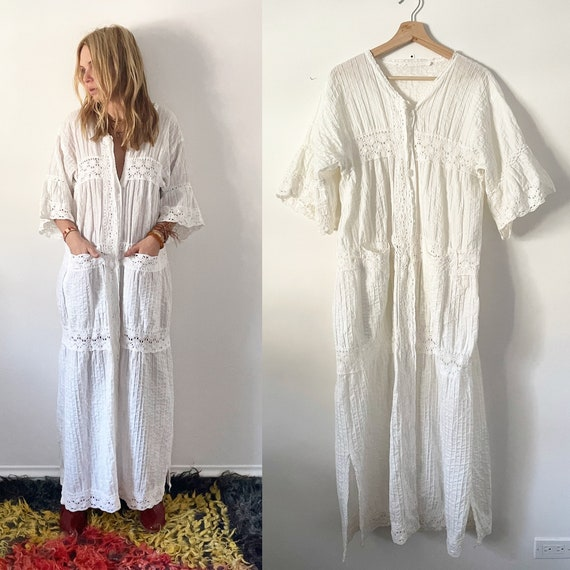vintage Lace Trim Mexican Cotton Dress ,  Natural Cotton Maxi Kaftan , Mexican Duster