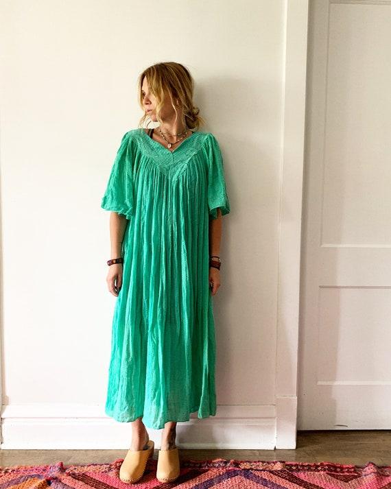 Vintage Cotton Gauze Grecian Sun Dress    Bali Lace Butterfly Sleeve Dress , Crochet Dres