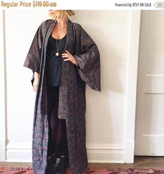 Vintage Woven Japanese Kimono,Maxi Kimon