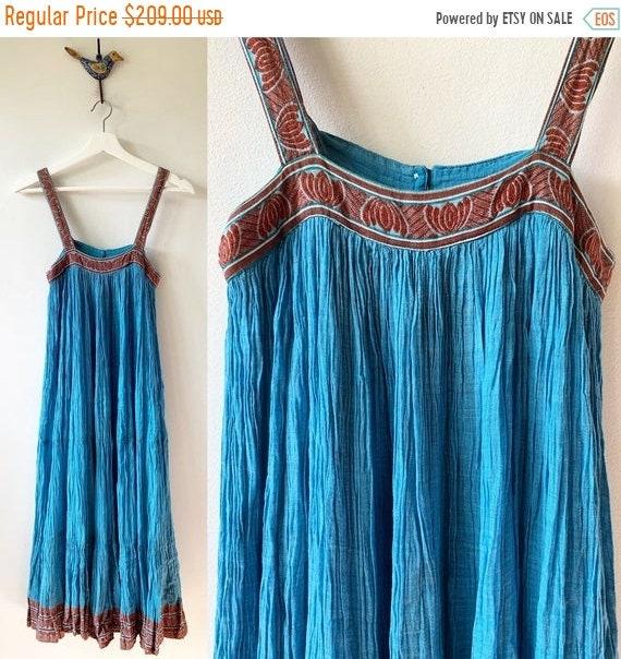 40% OFF SALE Vintge 70s ADINI Indian Gauze Spaghetti Strap Dress , Indian Lurex Sun Dress , Phool Dress