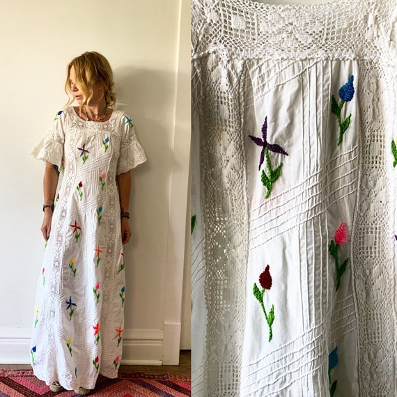 Vintage 60s Mexican Wedding Dress , Hand Embroidered Crochet Maxi BOHO Dress