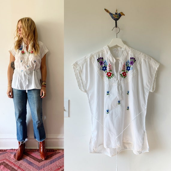 Vintage Hand Embroidered Folk Blouse , BOHO Blouse