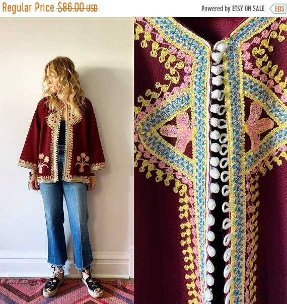 40% OFF SALE Vintage 70s  Embroidered  Moroccan Jacket , Ethnic Embroidered Jacket